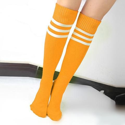 Lady Football Striped Long Tube Socks Soccer Lacrosse Rugby Sport Yellow Knee High Socks long socks JAKKOUTTHEBXX JAKKOU††HEBXX - JAKKOUTTHEBXX