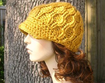 De punto sombrero del sombrero las mujeres sombrero de vendedor de periódicos amarillos - Amsterdam Cable gorro con visera en vara de oro amarillo sombrero tejido para mujer accesorios