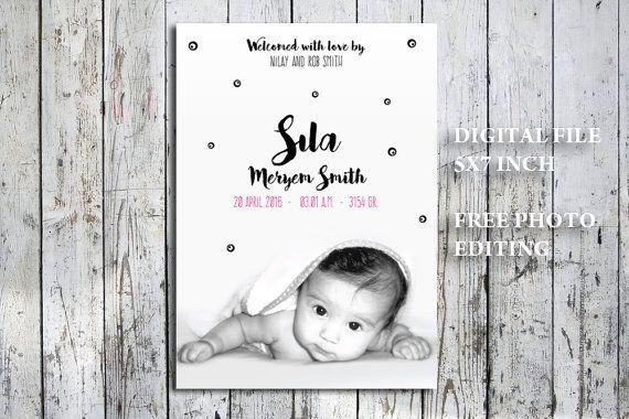 Monochroom geboorte aankondiging foto kaart met evil door nhlcards