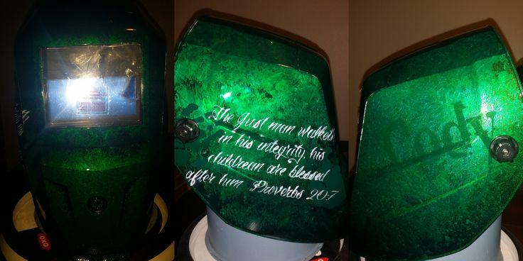Custom welding hood with Scripture #zimmerdesignz