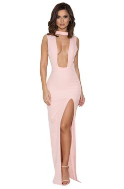 Jehane Pale Pink Cut Out Maxi Dress