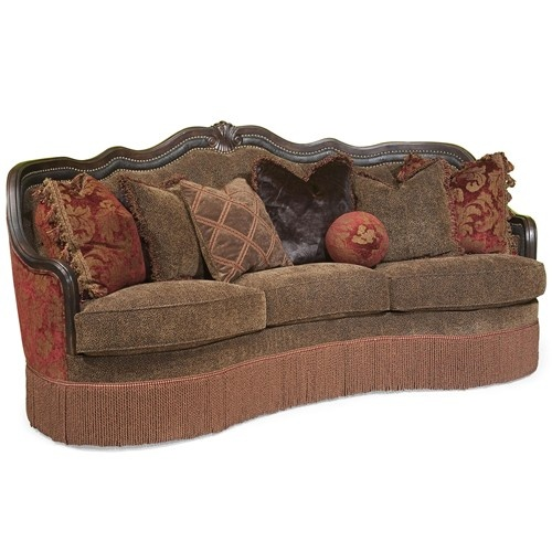 Gigi Traditional Sofa With Decorative Camel Back And Fringe Skirt By Rachlin Classics