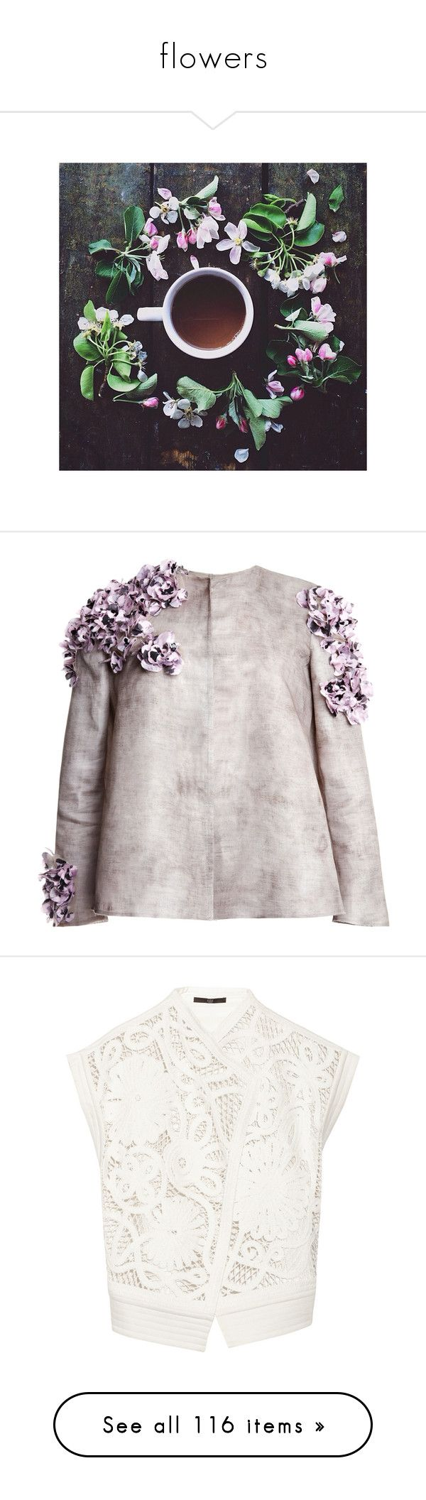 """flowers"" by dorothiable ❤ liked on Polyvore featuring pictures, instagram, backgrounds, insta, images, outerwear, jackets, tops, giambattista valli and grey"