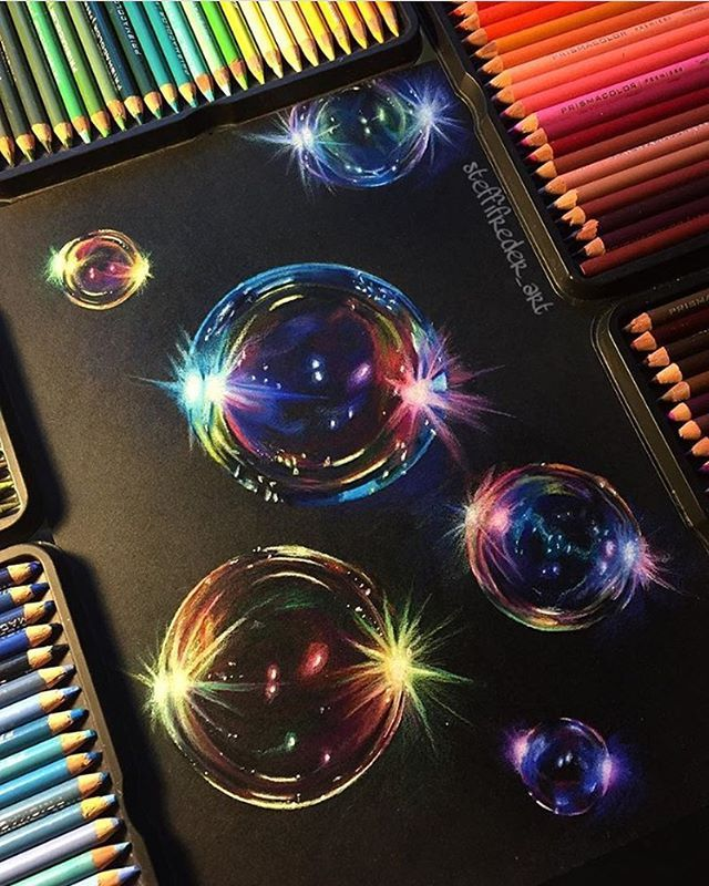 Throwback to my most favorite bubble drawing on black paper! ✍ Prismacolor pencils on Artagain Strathmore paper. (I also posted a new drawing video ➡️ check previous post)