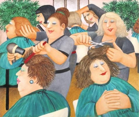 """Hairdressing"" was one of the last pictures Beryl Cook painted before her untimely death in 2008. It is a wonderful example of her acute observation and circular rhythmic composition."