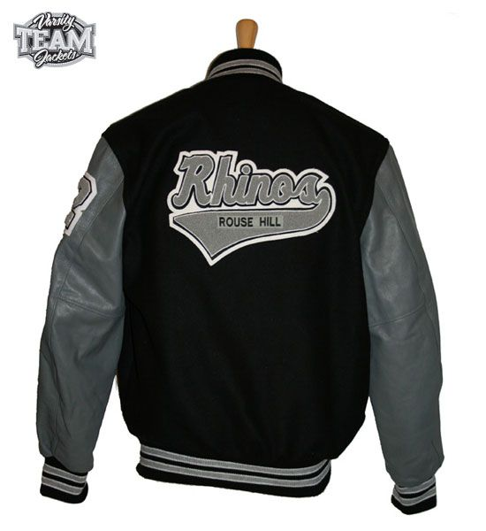 Rhinos jacket back - this is an authentic Chenille patch and looks great!