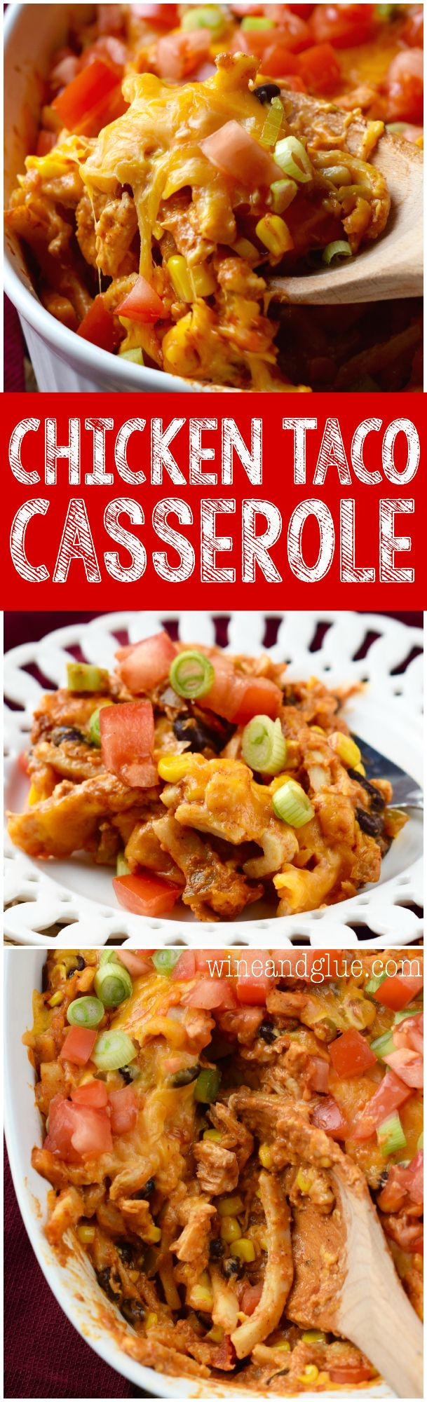 This Chicken Taco Casserole is comfort food at it's finest! Easy to make, packed with flavor, and totally delicious!: