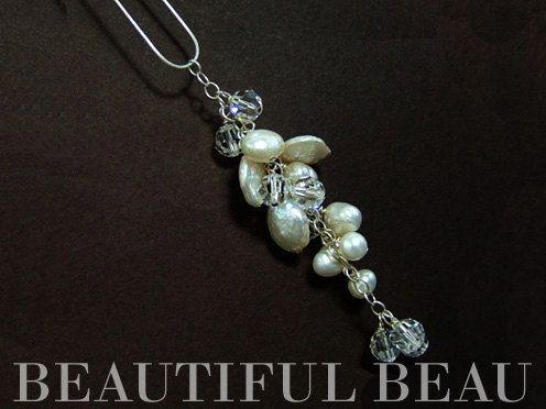 Freshwater Pearl Cluster Pendant Necklace, Bridal Pearl Necklace, Real Pearl Necklace VIENNA  II