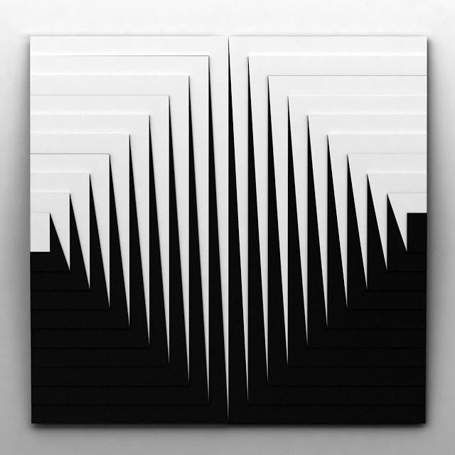 Marcello Morandini, optical art, black and white, stripes art, 60's art, minimal art,