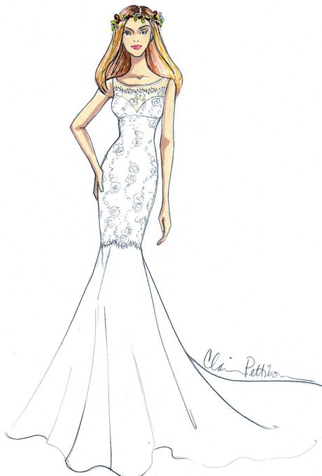 jennifer anistons wedding dress designer sketches