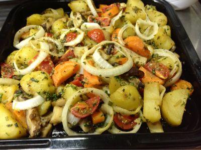 batatas ao forno,bacalhoada vegana