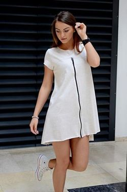 Dress smooth, asymmetrical  loose dress holding brief sleeve smooth with slightly extended back the back has a logo Limited edition originally packed with a set of tags made from the finest materials fashionable design and unique look perfect for numerous styling for every occasion https://cosmopolitus.eu/product-eng-109350-Smooth-assymetrical-dress.html #dress #loose #comfortable #smooth #fashion #spring #summer #womens #original