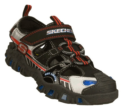 Boys' Hot Lights Deflecktord S-Manifold Sketchers... Tennis Shoe Toe Protection with Sandal like Straps in back...with lights!! Perfect for my lil guy!! =)