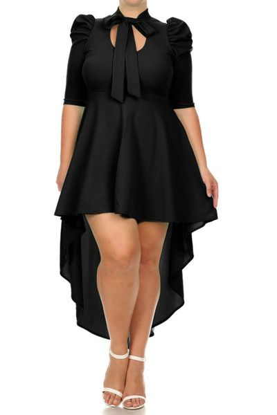 Plus Size Pretty Keyhole Chest Bow Dip Hem Dress