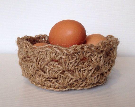 Handmade Jute Baskets : Handmade crochet jute twine basket by bunyetskahandmade
