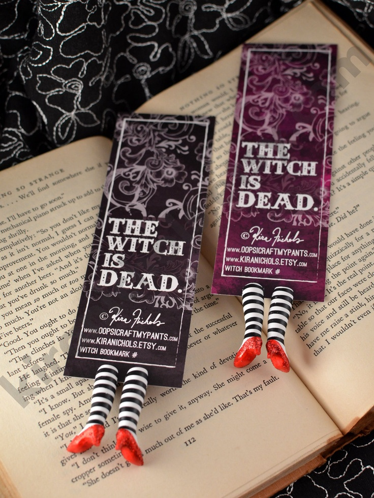 Wicked Witch Bookmark - Ruby Slippers Bookmark - Witch Legs Bookmark - Ding Dong. via Etsy.