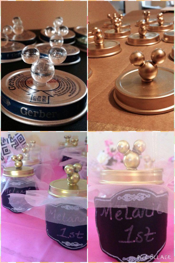 Minnie favors birthday diy baby food jars gold pink