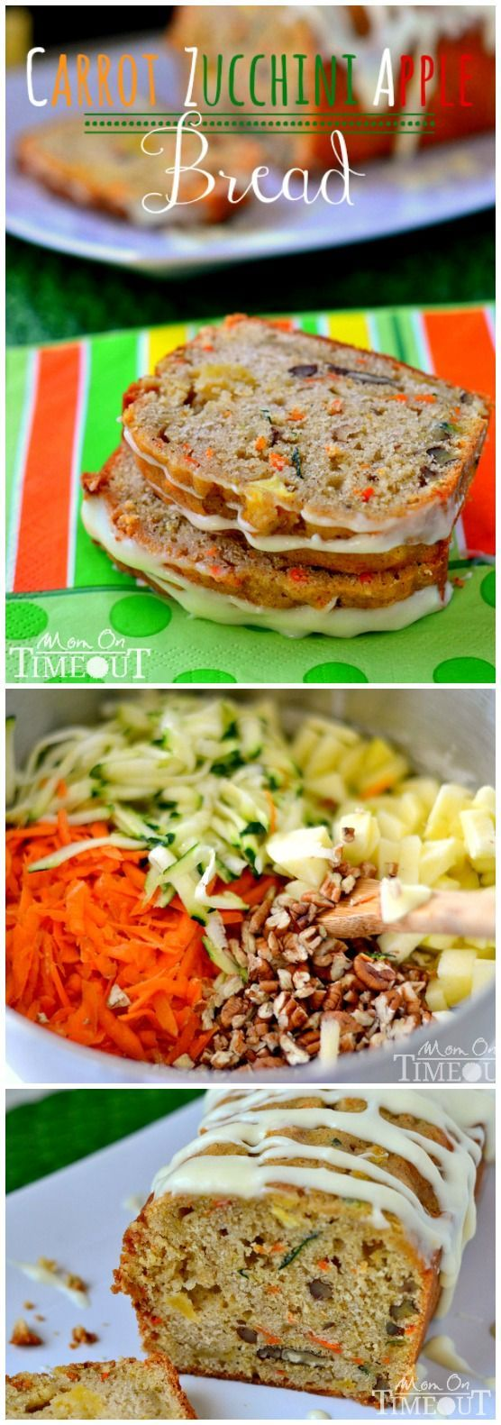 """This easy recipe for Carrot Zucchini Apple Bread is both delicious and healthy! Kind of a """"kitchen sink"""" of ingredients that combine for the most amazing flavor. A great way to use up extras.   Mom On Timeout"""
