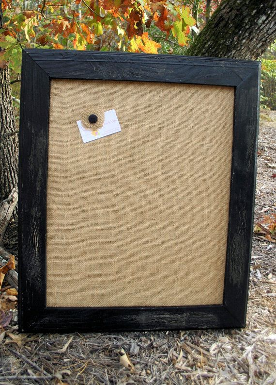 "Black Vintage Frame with burlap Cork Board  22""x26"""