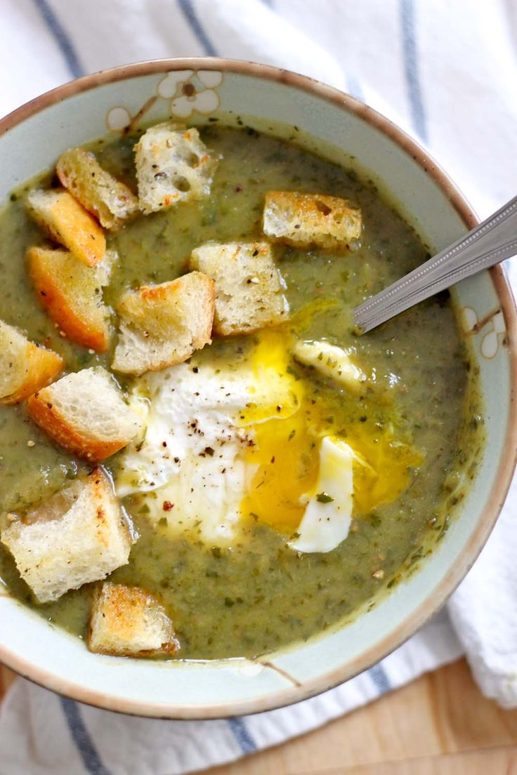 Slow Cooker Asparagus, Spinach, and Potato Soup (Vegan)   bowl of delicious!