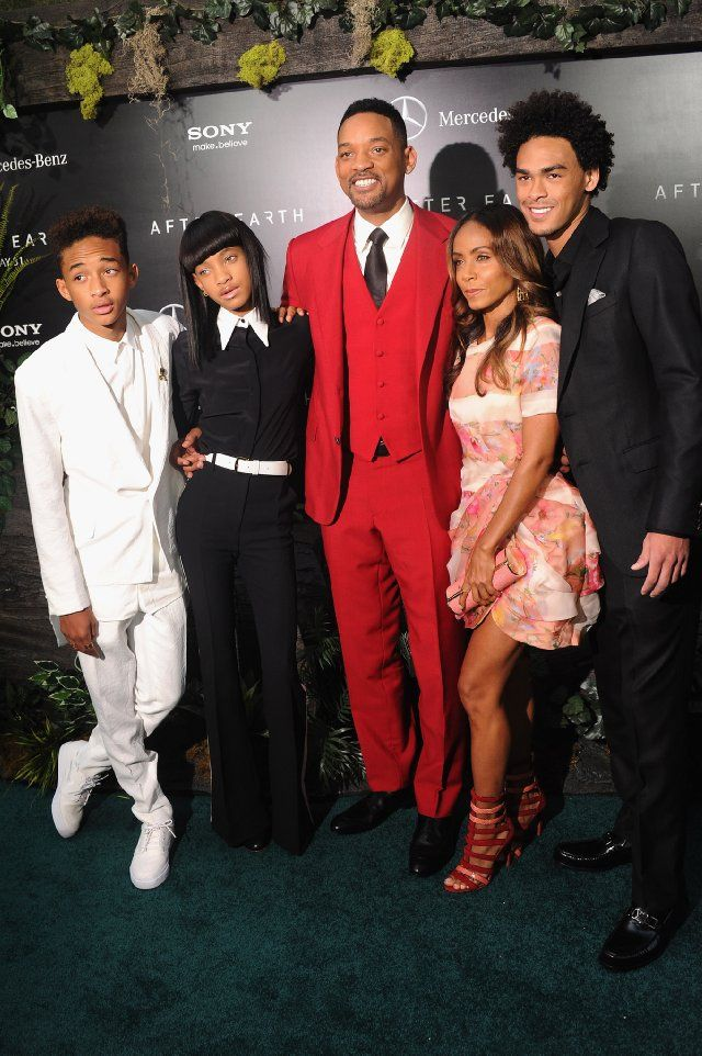 Will Smith, Jada Smith and their children Jaden and Willow Smith along with Willard Smith (Will's son from a previous relationship)