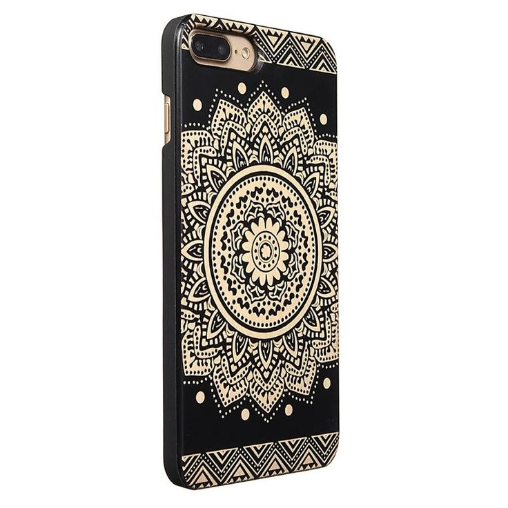 Natural Wood+PC Flower Mask Texture Shockproof Case For iPhone 7 Plus…