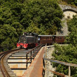 The narrowest train tracks in the world, only 60 cm, take the Moutzouris along a route which offers views, rich in natural beauty, constructions and various sights. - Copyright © wondergreece.gr