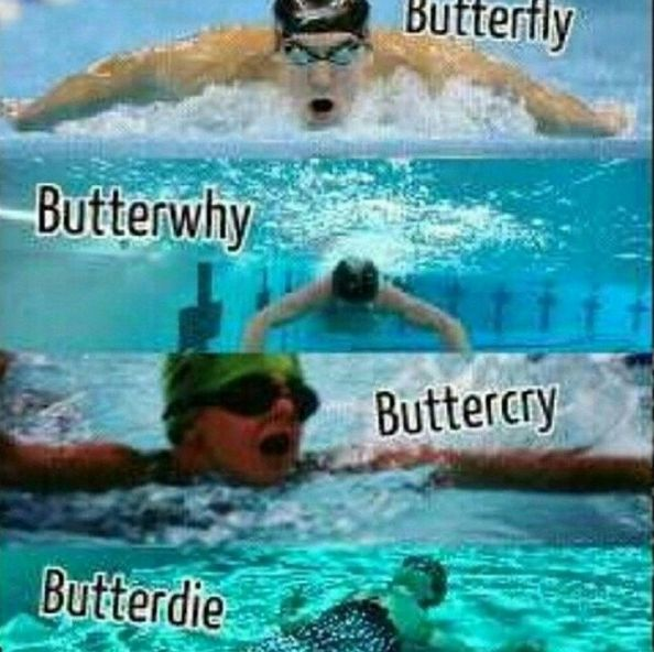 When your butterfly stroke looks very different at the beginning of a race than it does at the end: