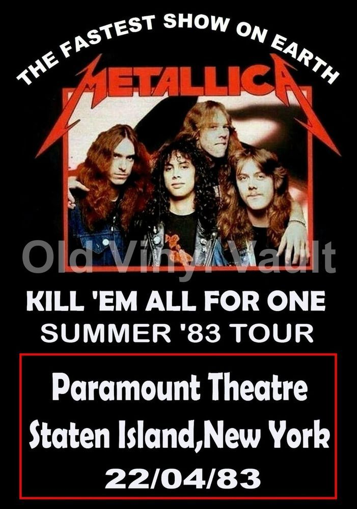 Metallica concert poster Staten Island,NY,Paramount Theatre 1983  A3 Repro