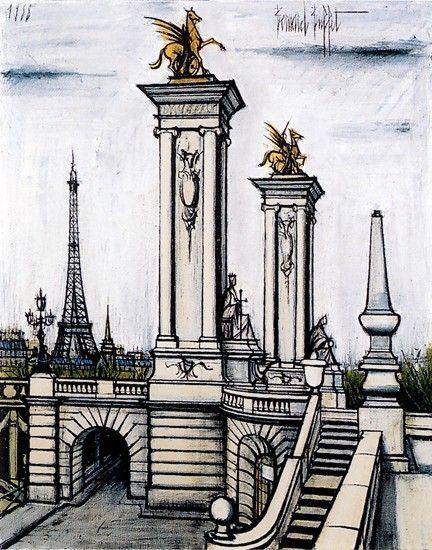Bernard Buffet, Le Pont Alexandre III et la tour Eiffel - 1988 oil on canvas - 146 x 114 cm