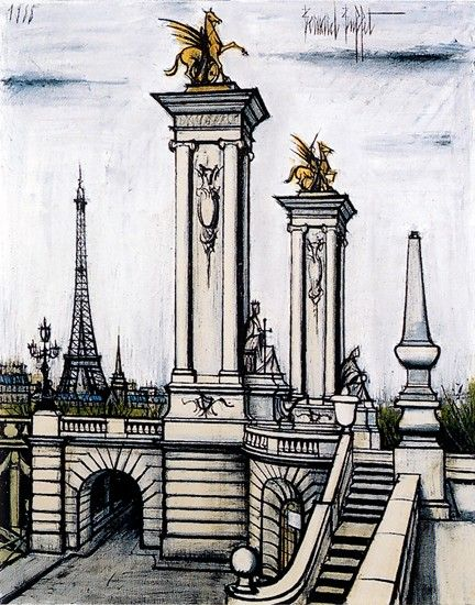 Bernard Buffet, Le Pont Alexandre III et la tour Eiffel - 1988 oil on canvas - 146 x 114 cm