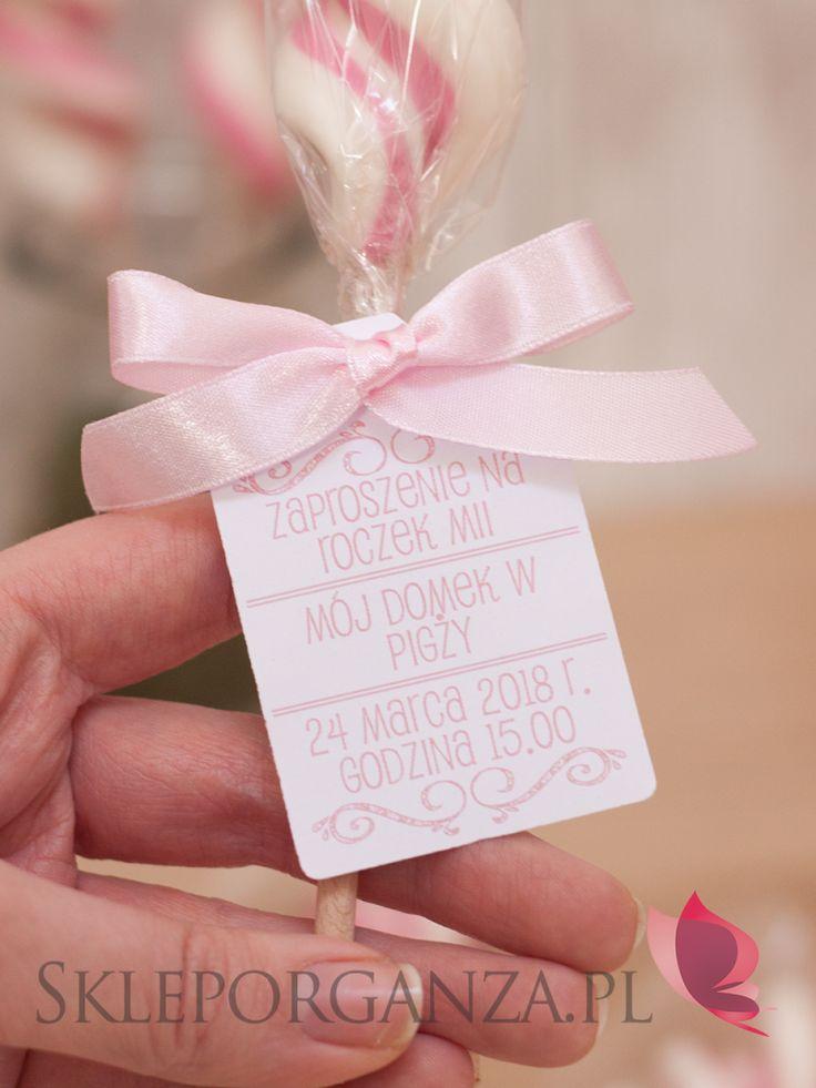 lizak świderek różowo biały z bilecikiem i kokardką