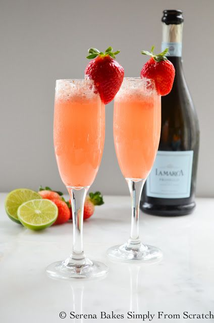 Strawberry Champagne with Champagne Soaked Strawberries is a fun cocktail perfect for Brunch, New Years Eve, Valentines Day, Easter, Mothers Day or just because! serenabakessimplyfromscratch.com