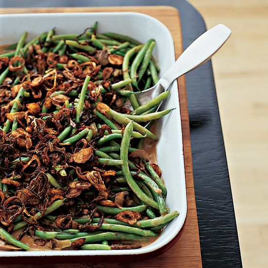 Green Beans with Cremini Mushroom Sauce | The assembled casserole can be made a day ahead and refrigerated overnight, making it an ideal side dish for Thanksgiving. The fried shallots also can be prepared ahead and stored overnight in an airtight container.