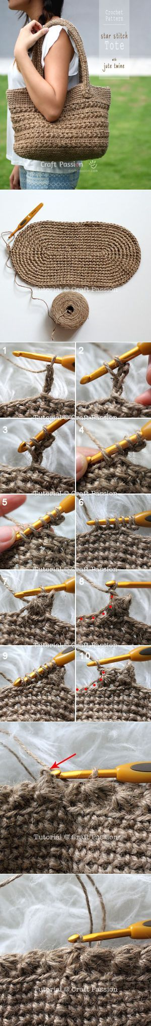 Crochet pattern of star stitch tote by using jute twine. Picture tutorial and video link available to make the instruction easy to…