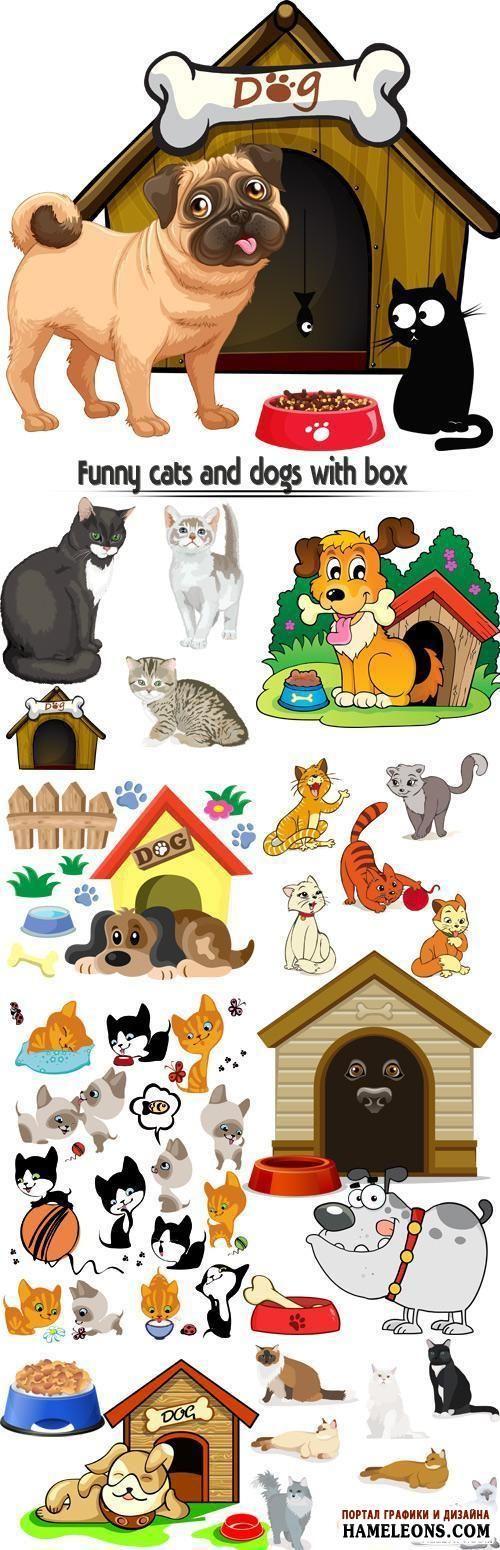 В векторе забавные коты и кошки с костью, с чашкой корма | Funny cats and dogs