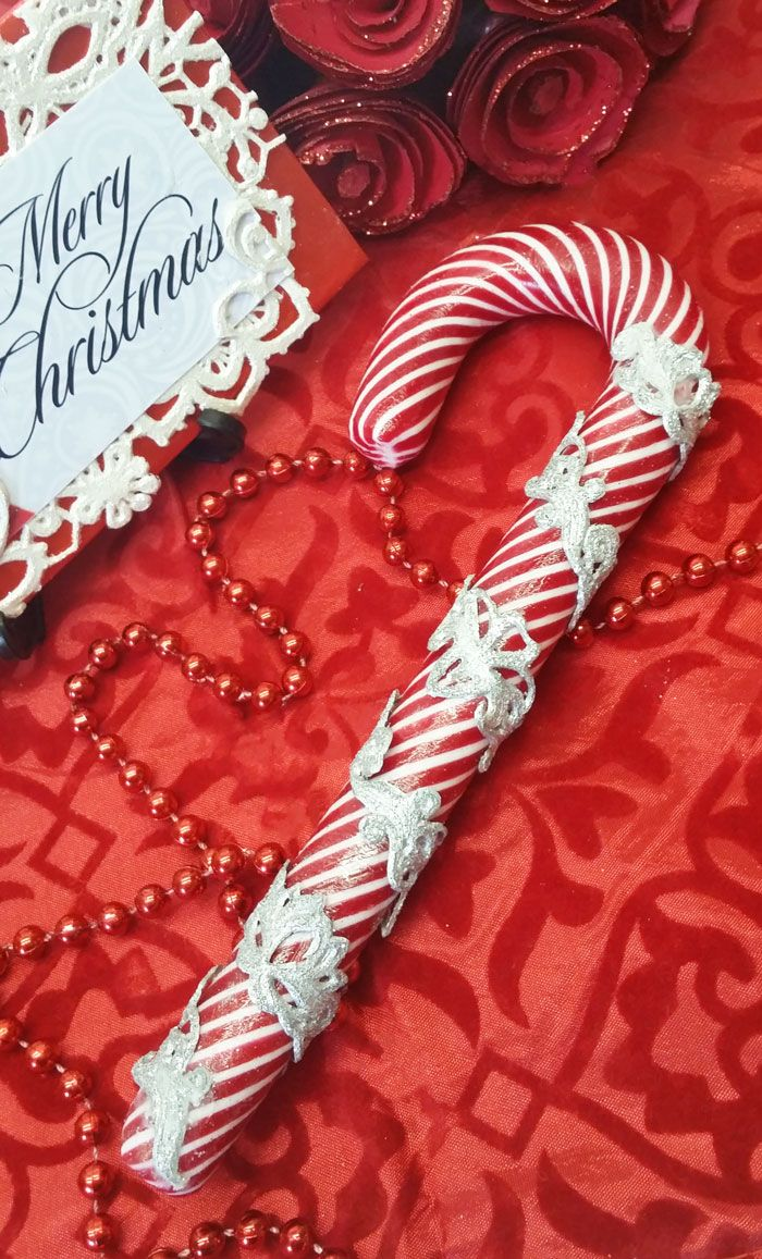 Christmas Candy cane with edible lace