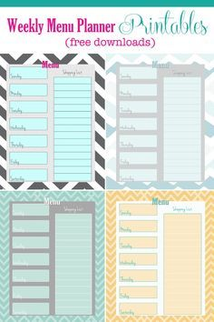 printable menu planner