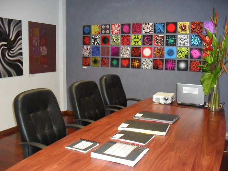 A Mind Map of 48 hand drawn manipulated images. One big Feature artwork for this boardroom.