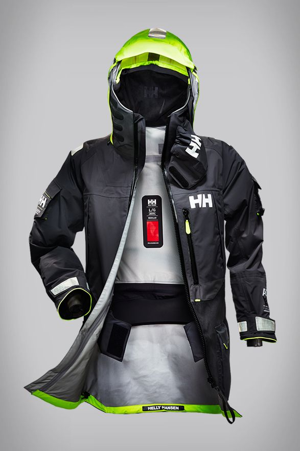 "HELLY HANSEN `` ""The Aegir Ocean"" Jacket For Professional Ocean Racers, A Sailing Jacket That Offers Seasoned Sailors And Racers Maximum Protection From The Elements"