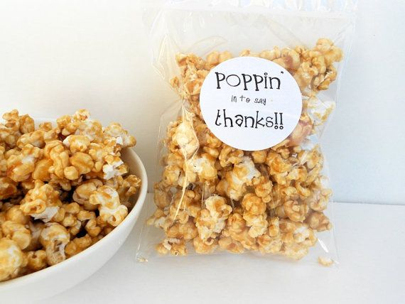 Poppin in to say thanks! PDF label - popcorn sticker label thank you gift teacher appreciation instant download employee recognition on Etsy, $4.00