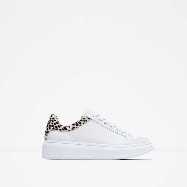 Zara Leather Platform Sneakers (92 CAD) ❤ liked on Polyvore featuring shoes and sneakers