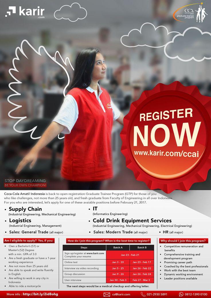 IKUTI! Graduate Trainee Program (GTP) dari Coca Cola Amatil Indonesia untuk S1/S2 >> http://bit.ly/2hSwsSQ   DEADLINE: 12 Januari 2017 #itbcc #karirITB #ITBcareer