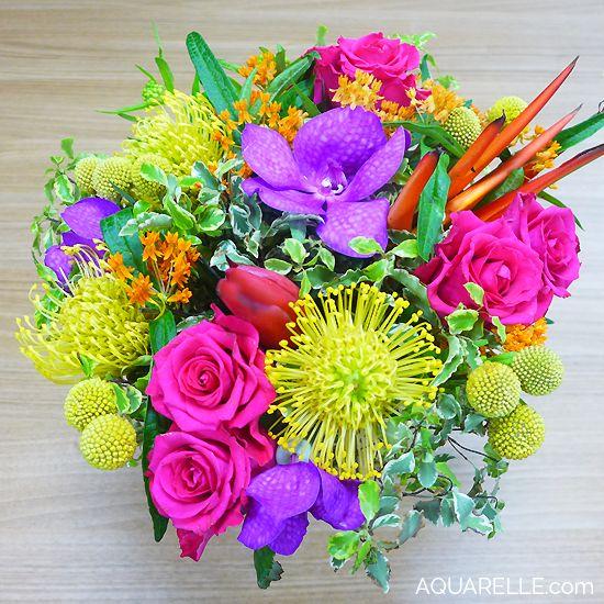 Magnifique bouquet exotique haut en couleurs par aquarelle for Bouquet exotique
