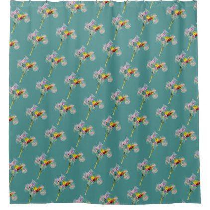 #Tropical Teal Sweet Pea Print Shower Curtain - #Bathroom #Accessories #home #living