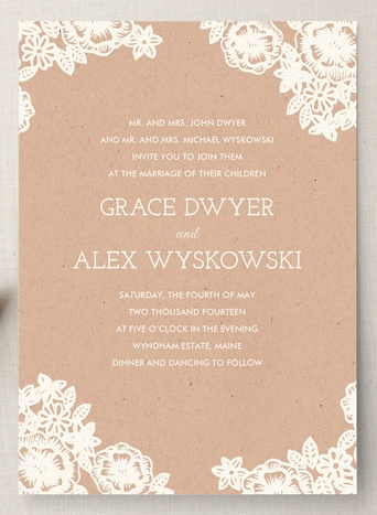 Lace and craft wedding invitation by Katherine Watson via Minted.
