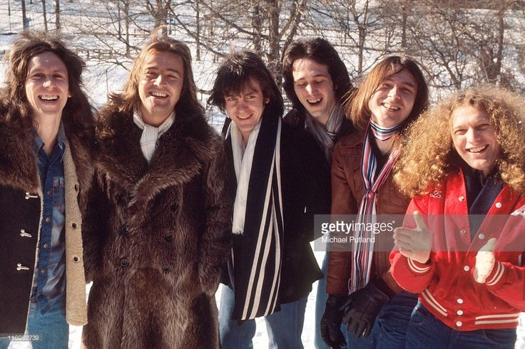 Foreigner, group portrait, New York, 1977, L-R Dennis Elliott, Ed Gagliardi, Al Greenwood, Mick Jones, Lou Gramm, Ian McDonald.