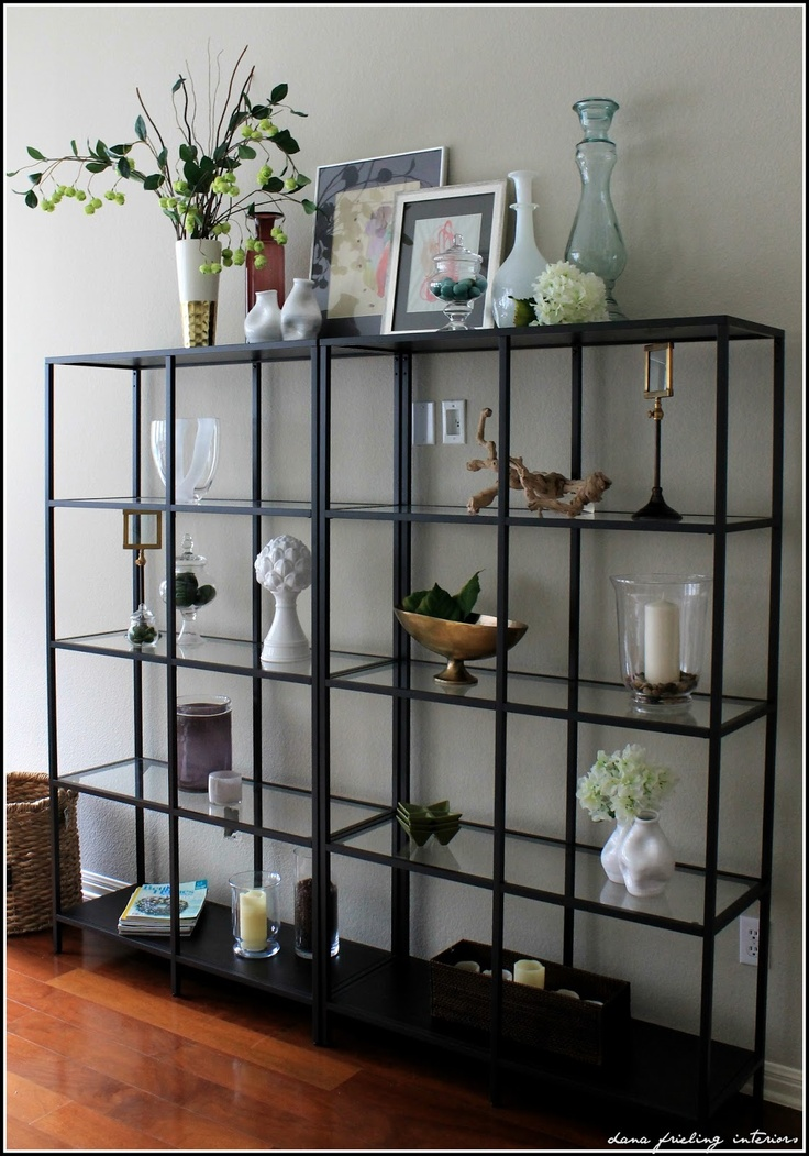 Vittsjö Ikea unit- can be painted any color to up the high end feel. These are the most versatile shelving units out there for the $