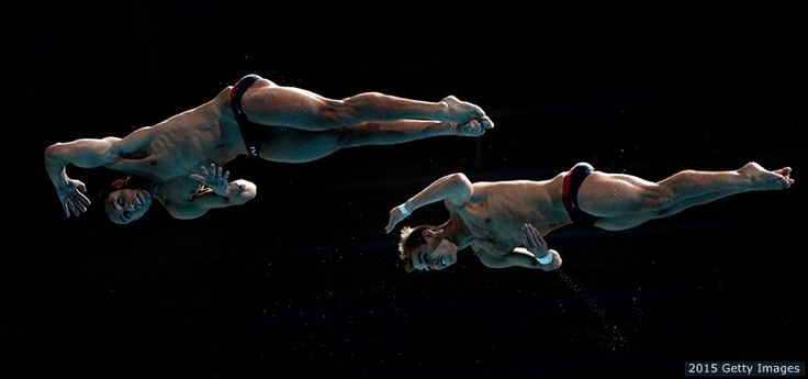 Sam Dorman and Kristian Ipsen compete in the men's 3-meter springboard synchronized diving final at the 16th FINA World Championships at the Aquatics Palace on July 28, 2015 in Kazan, Russia.