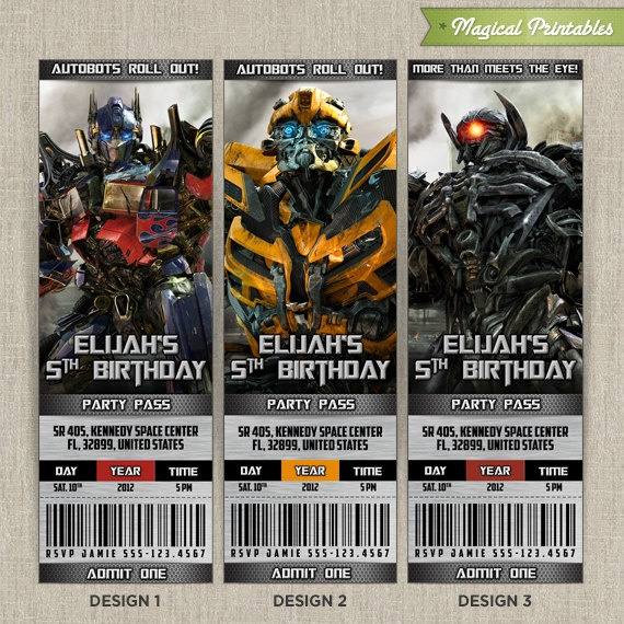 Personalized TRANSFORMERS Birthday Ticket Invitation Card Choose 3 Designs At NO Extra Charge 1000 Via Etsy